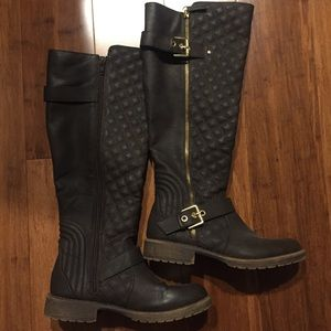 Candie's Quilted Brown At the Knee Boots
